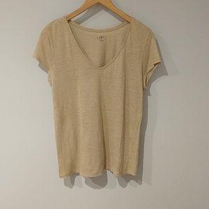 Loft linen tan short sleeve top Medium